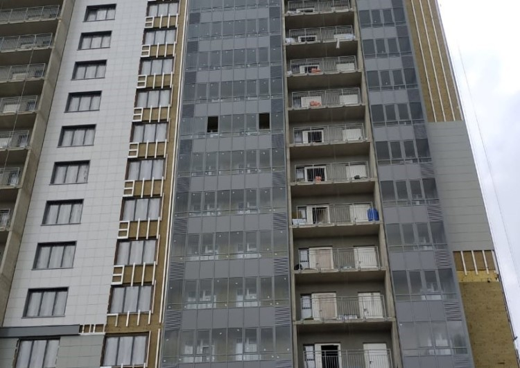 монтаж вентилируемого фасада жилого дома