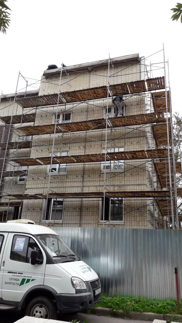 Устройство вентилируемого фасада здания Центра занятости вг. Гатчина, ЛО