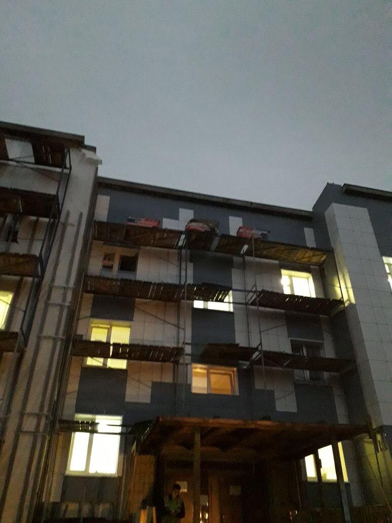Цена выполнения работ по устройству вентилируемого фасада здания Центра занятости вг. Гатчина, ЛО в 2017 году