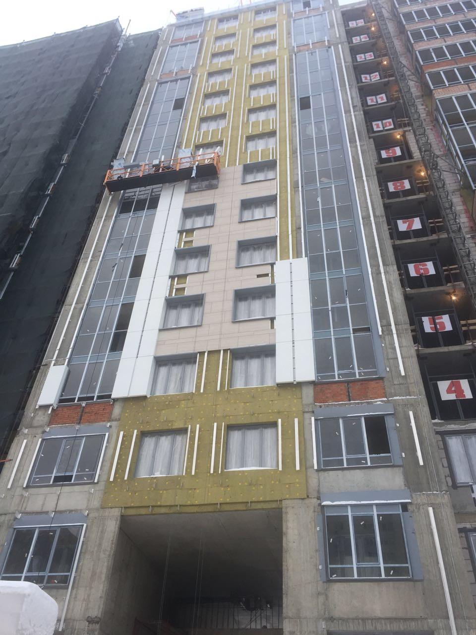 Выполнение работ по устройству вентилируемых фасадов жилого комплекса для ООО «Антс-Групп» в СПб