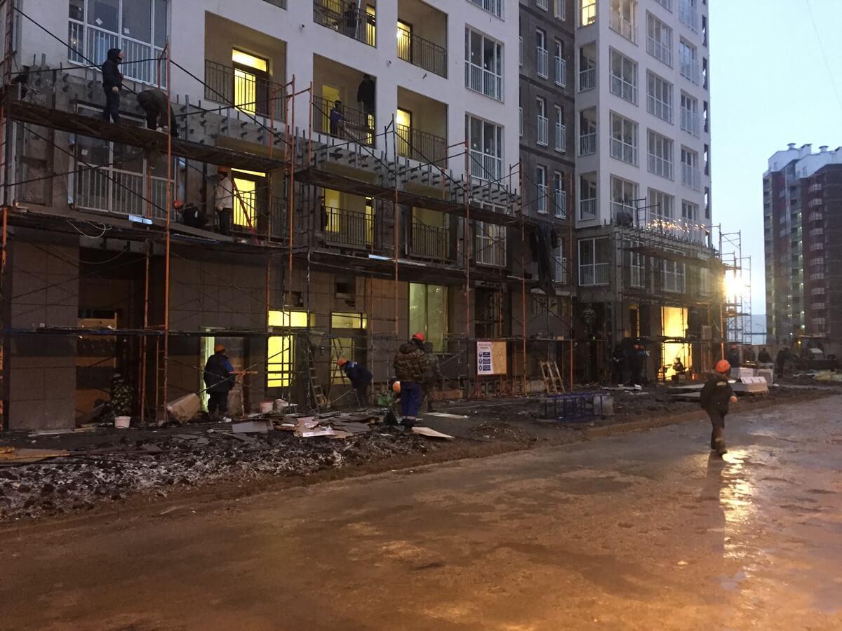 Монтаж навесного вентилируемого фасада для ЖК Кудрово. Петербург