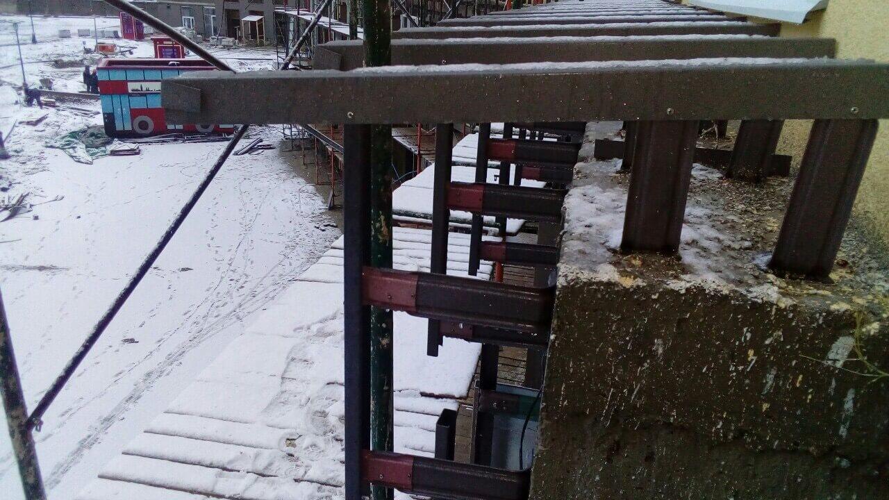 Монтаж навесного вентилируемого фасада для ЖК Кудрово. СПб