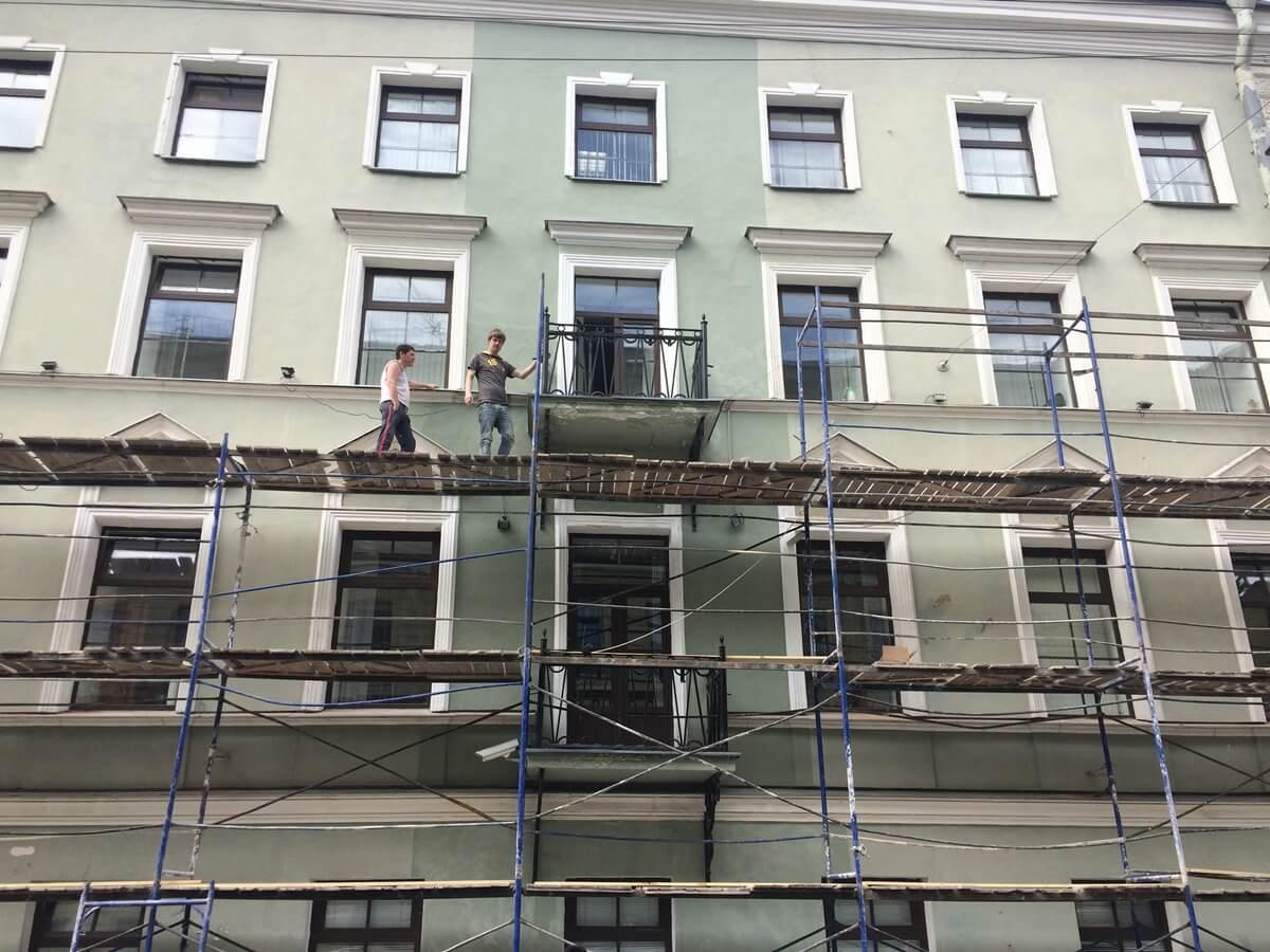 Ремонт, покраска фасада здания в СПб и Лен.области