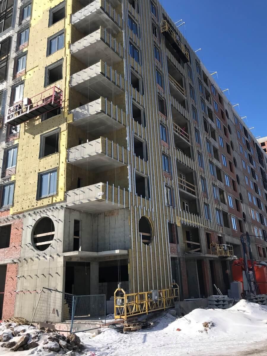 Ремонтные работы по устройству вентилируемых фасадов зданий для ООО ЛенСпецСМУ- Комфорт