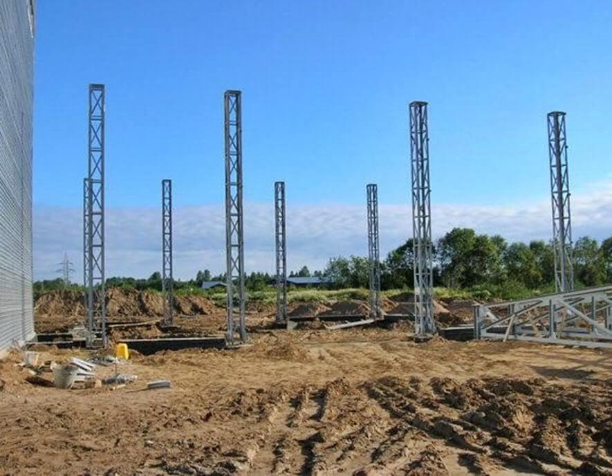 Строительство склада ангарного типа в г. Высоцк размерами 18 х 19.5 м.